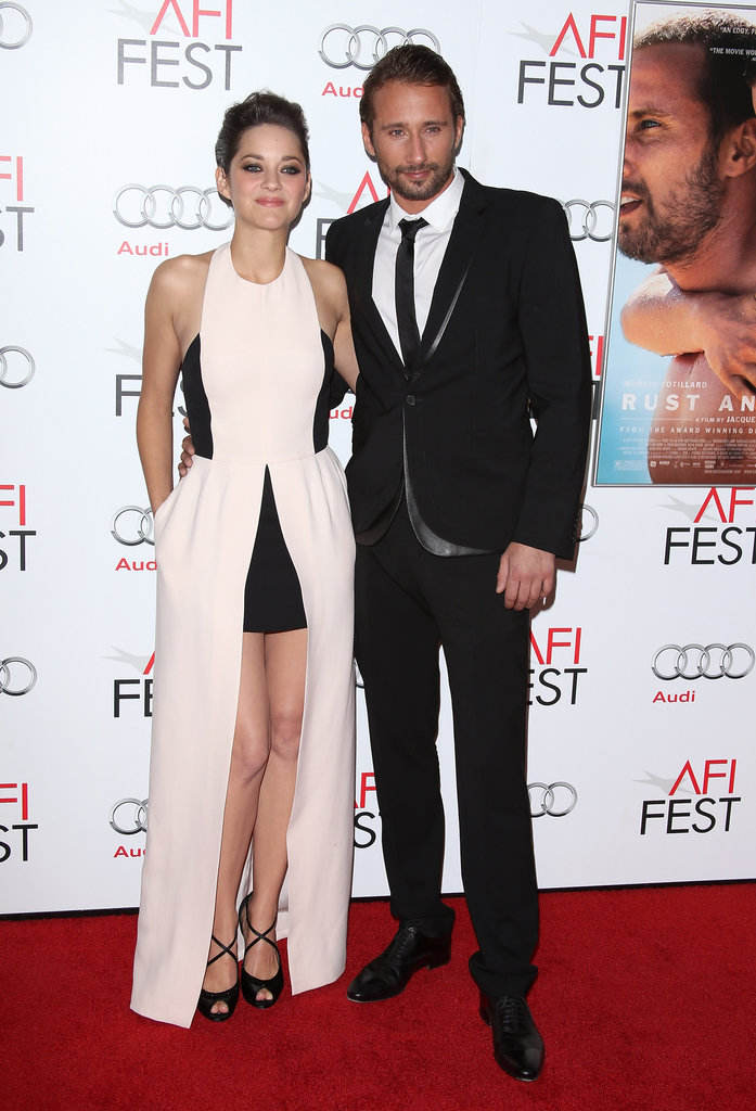 Marion Cotillard and Matthias Schoenaerts posed side by side at Grauman's Chinese Theatre in Hollywood.