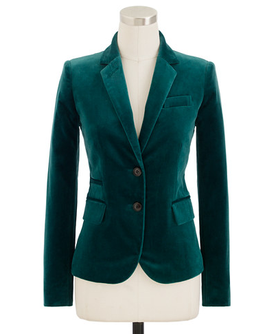 Add a polished touch to your Winter looks with this sharp emerald J. Crew's Velvet Schoolboy Blazer ($178).