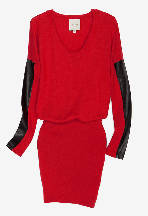 We love the gathered waistline, leather sleeve detail, and totally festive red hue here. This Mason Leather Sleeve Sweater Dress ($315) is our new obsession.