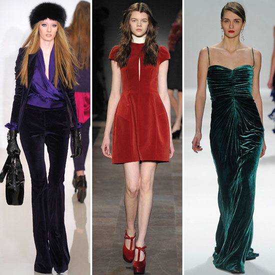 Designers showed a range of velvet looks on the runway, ranging from '70s inspired trousers to glamorous gowns. From left to right: Rachel Zoe, Carven, Tadashi Shoji