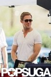 Ryan Gosling looked good in a tight, white t-shirt while shooting Drive on location in LA in October 2010.