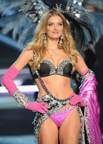 Lily Donaldson was on the runway at the Victoria's Secret Fashion Show in NYC.