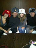 Jennifer Lopez and Casper Smart wore furry hats while on tour in Russia. Source: Twitter user JLo