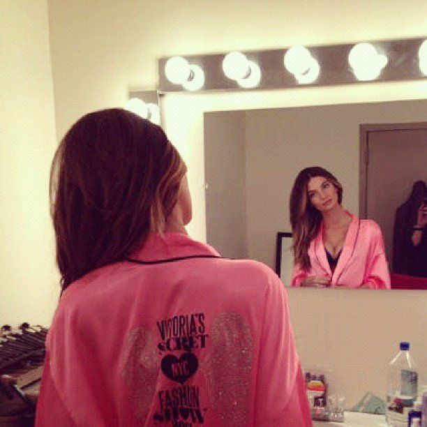Lily Aldridge admired her pink robe.  Source: Instagram user officiallilyaldridge