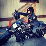 Lucy Hale rode a motorcycle. Source: Instagram user keeeoone