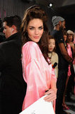 Hilary Rhoda got ready for the show.