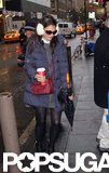 Katie Holmes wore earmuffs and a puffy coat to head to her Broadway show.