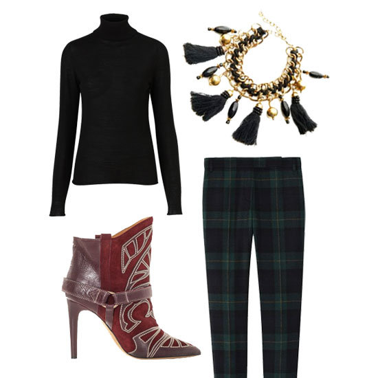 A turtleneck, plaid trousers, and Western boots are the perfect mix of classic-cum-downtown cool. Shop the look:  Topshop Knitted Merino Wool Roll Neck Top ($90) Bungalow 8 Black Tassel Bracelet ($53) Isabel Marant Blackson Embroidered Boots ($1,326) Tibi Ringo Plaid Skinny Pant ($330)
