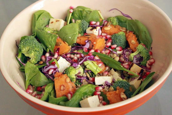 All of the vegetables in this Fall salad have disease-fighting capabilities, but you'll be too distracted by how good the dish tastes to care. The bright, tart flavors of the pomegranate seeds make for a nice contrast against the sweet butternut squash.