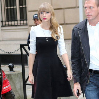 Taylor Swift Wearing Black and White Colorblock Dress