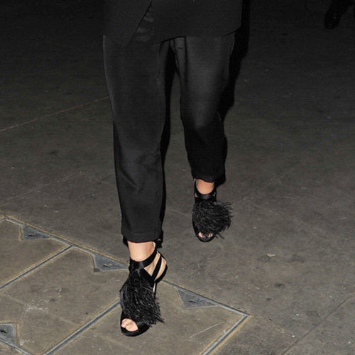 Gwyneth Paltrow Wearing Black Fringe Sandals