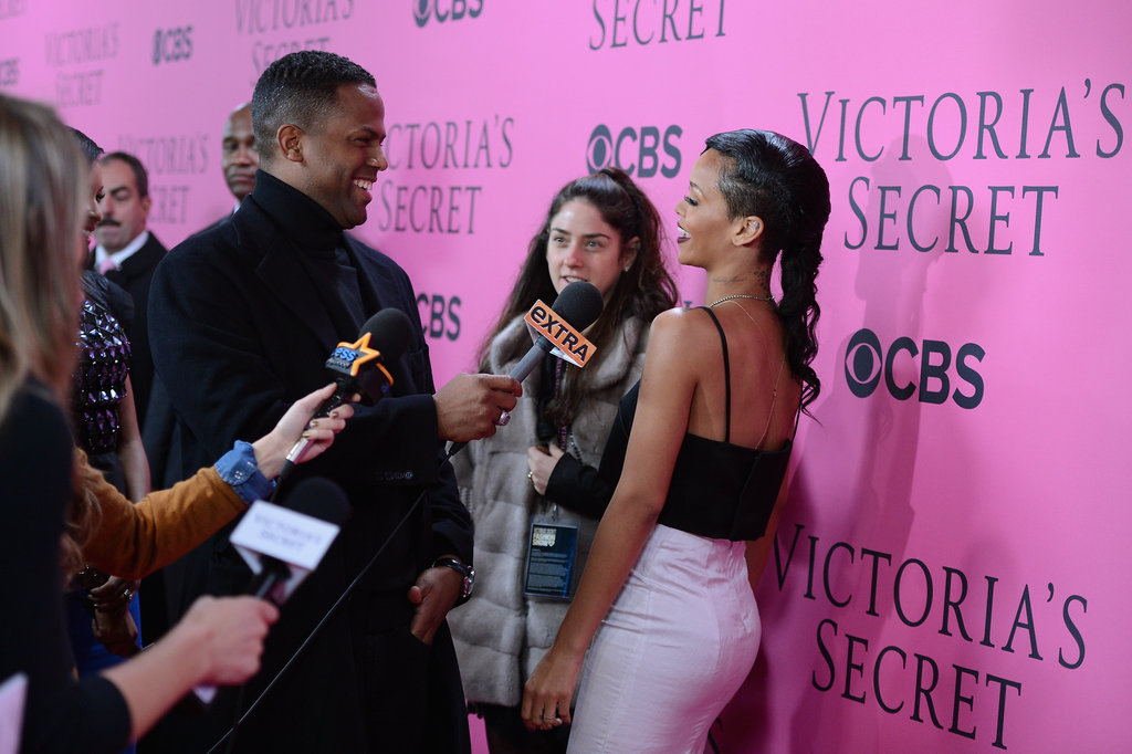 Rihanna chatted to reporters on the pink carpet at the Victoria's Secret Fashion Show after party.