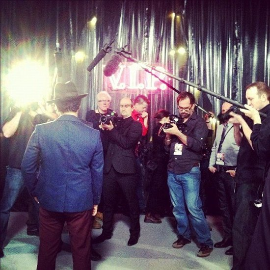 Bruno Mars posed for pictures before the big show.  Source: Instagram user victoriassecret