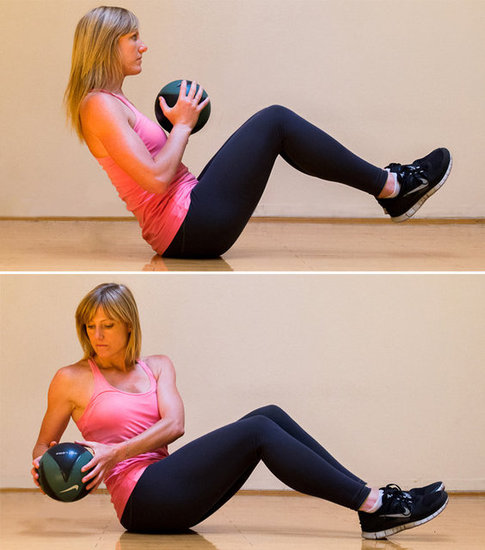To do the seated Russian twistOblique Exercises With Medicine Ball