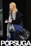 Claire Danes stepped out in a scarf and black coat to walk in NYC.