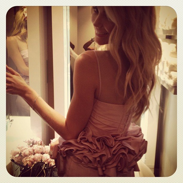 Jennifer Hawkins wore Aurelio Costarella to Crown Oaks Day. Source: Instagram user jenhawkins_