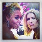 Mel B and Natalie Bassingthwaighte pouted for the cameras during a break on The X Factor. Source: Instagram user natbassingthwaighte