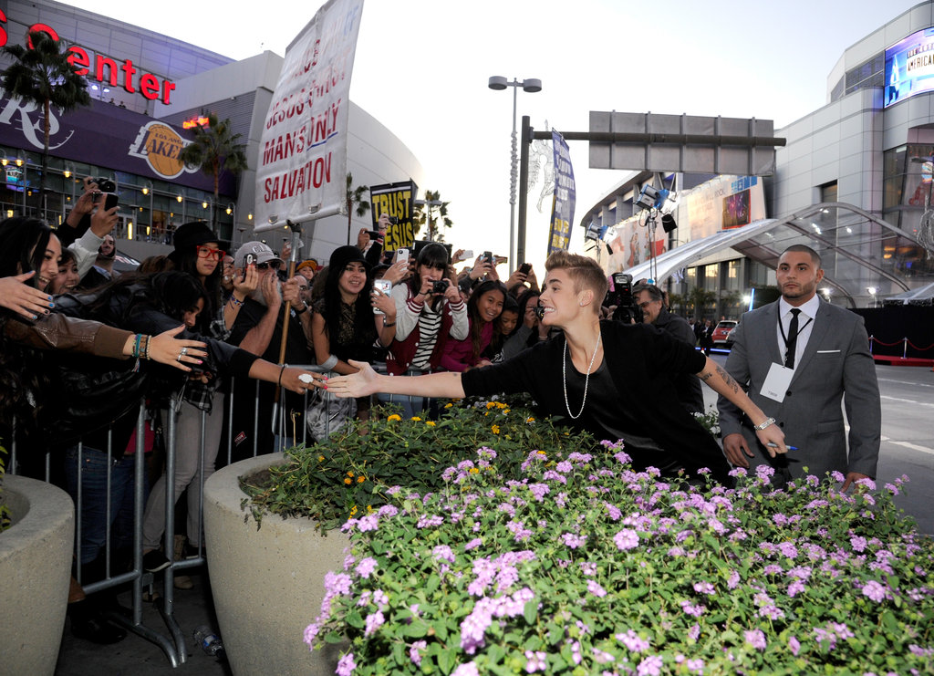 Justin Bieber greeted fans at the American Music Awards.