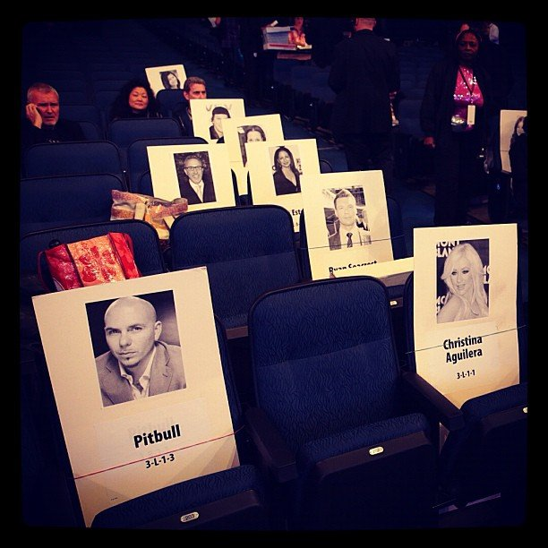 Pitbull found his seat next to Christina Aguilera. Source: Instagram user pitbull