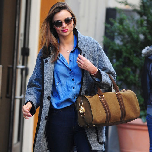Miranda Kerr Carrying Tan Duffle Bag