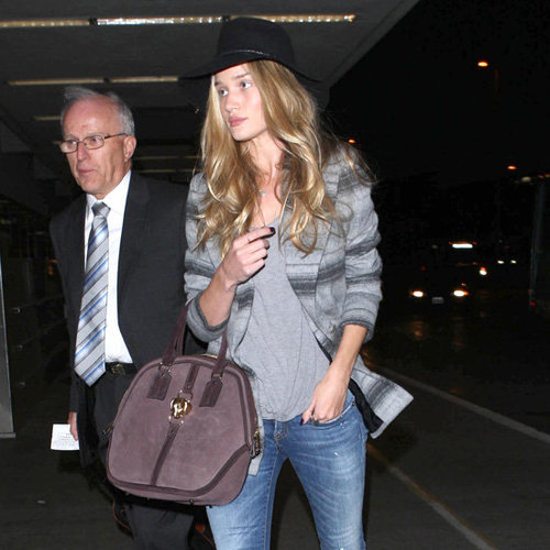 Rosie Huntington Whiteley Wearing Printed Coat