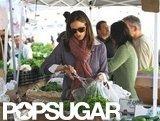 Jennifer Garner picked up some vegetables at a farmers market in LA.