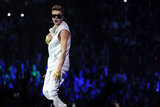 Justin Bieber wore a white sleeveless vest on stage in Boston.