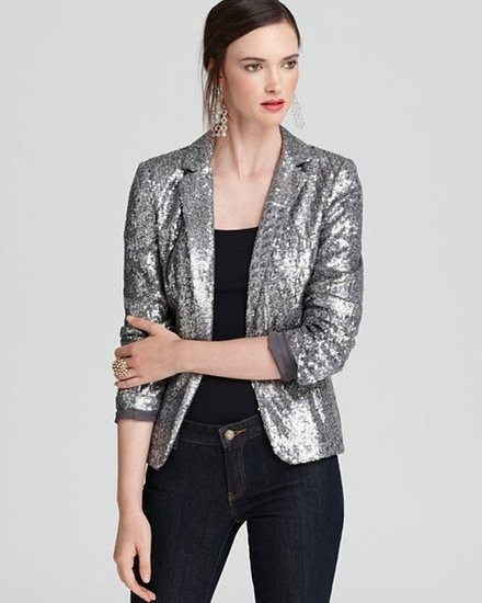 For a one-stop solution to styling your black tank top up for a night out, rely on this MICHAEL Michael Kors Long Sleeve Sequin Blazer ($195).