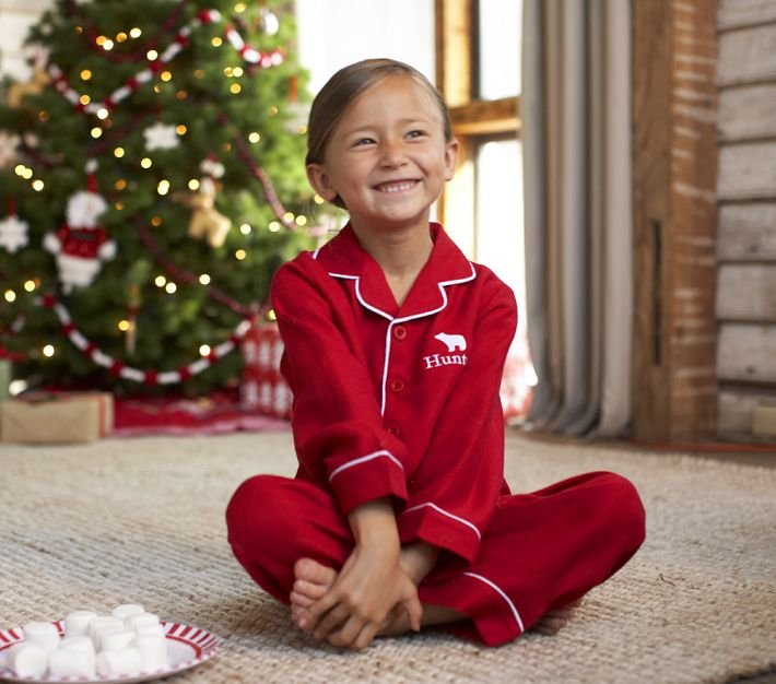 Pottery Barn Kids Red Solid Pajamas