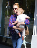January Jones was out with her son, Xander, in Los Feliz, CA.