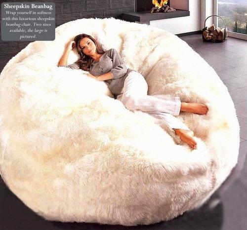 Natural Sheepskin Beanbag Chair