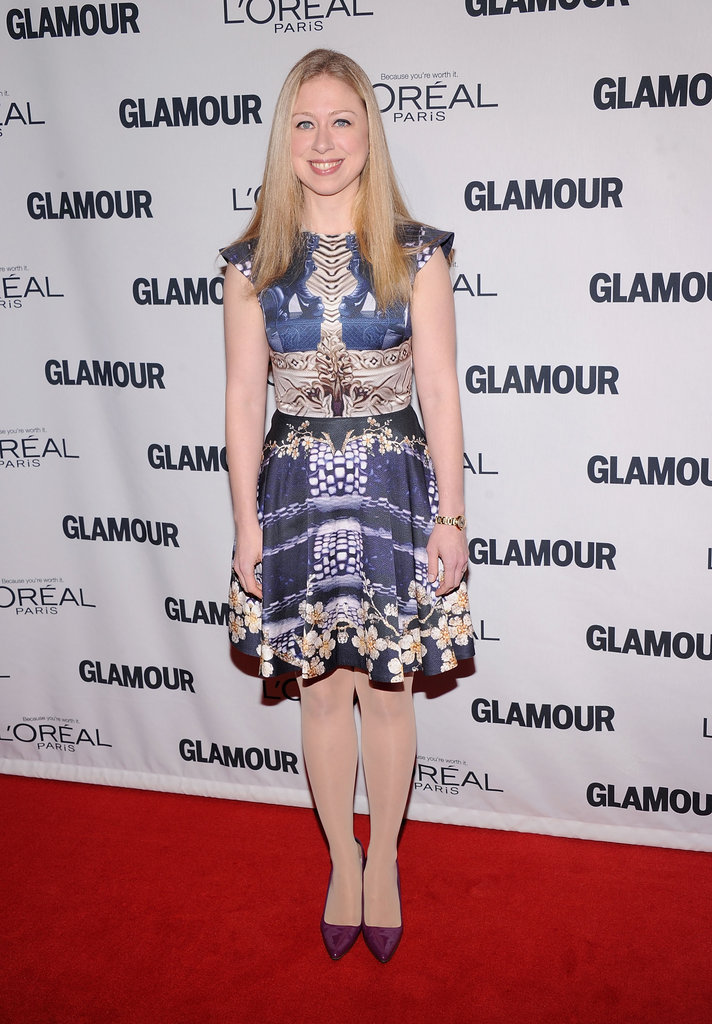 Chelsea Clinton worked a bold, printed fit-and-flare dress by Mary Katrantzou.