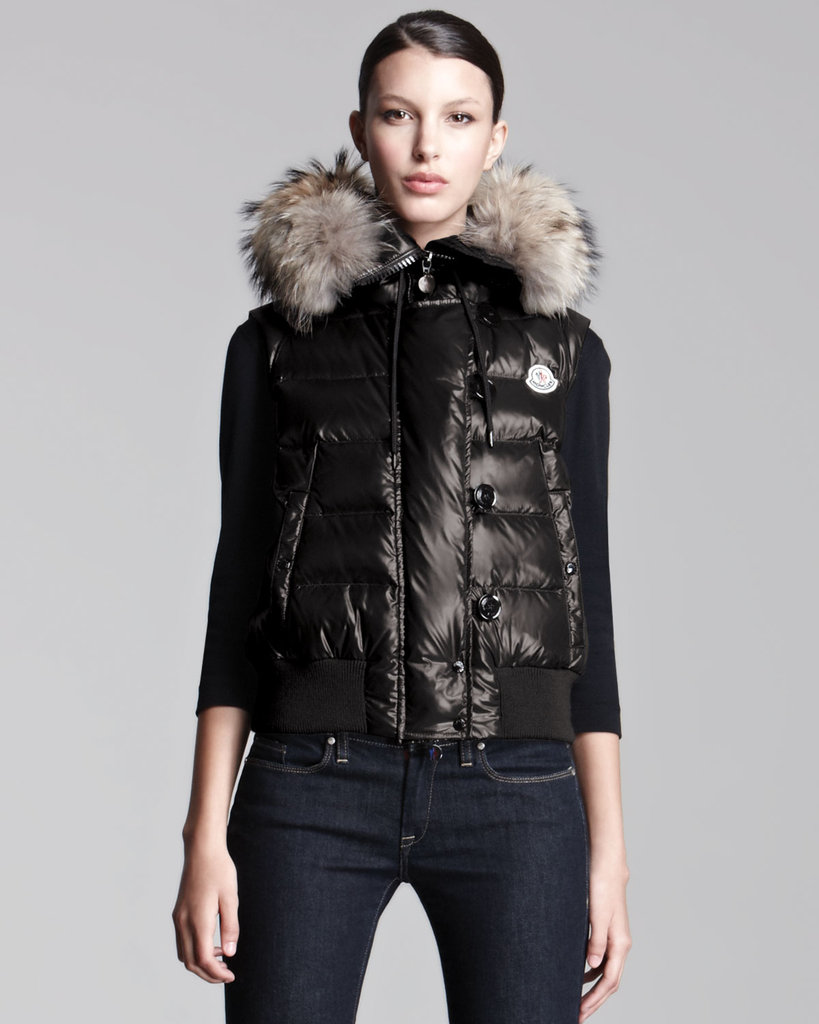 There's no other way to go luxe with your vest than with this Moncler coyote-trim lacquered puffer vest ($1,190). Between the shiny finish and real fur hood, you don't need much else in the way of layering to give this wintry look its polish.