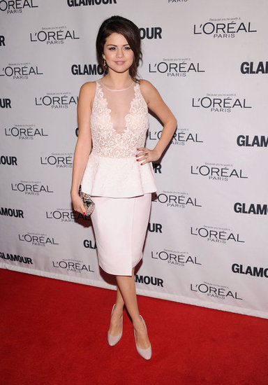 Selena Gomez slipped into a ladylike peplum-trimmed sheath by Giambattista Valli and a pair of coordinating pumps.