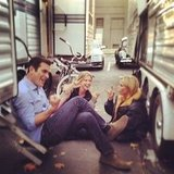 Sarah Hyland caught her Modern Family costars hanging out between takes. Source: Instagram user therealsarahhyland