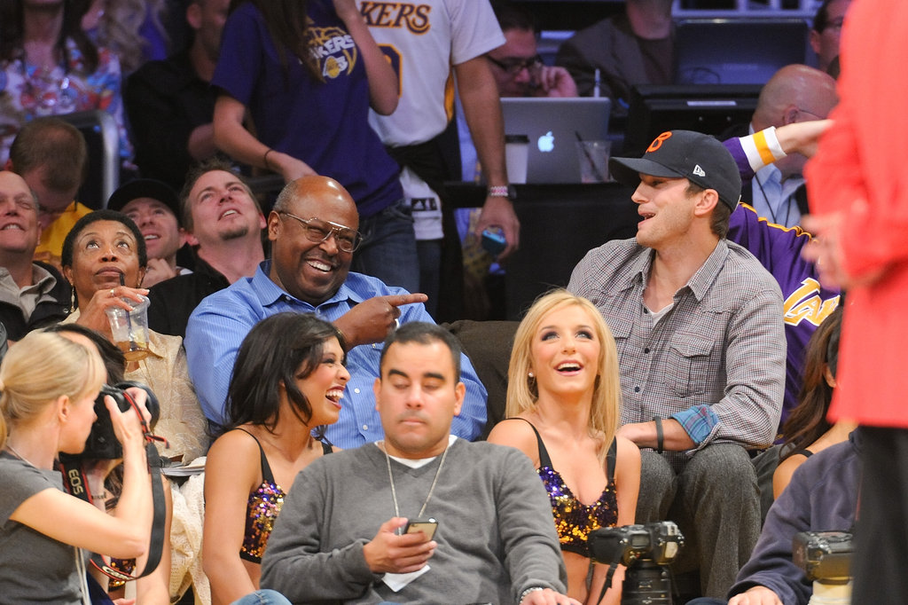 Ashton Kutcher made a friend in the crowd.