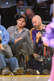 Ashton Kutcher and a fellow Lakers fan watched the the game.