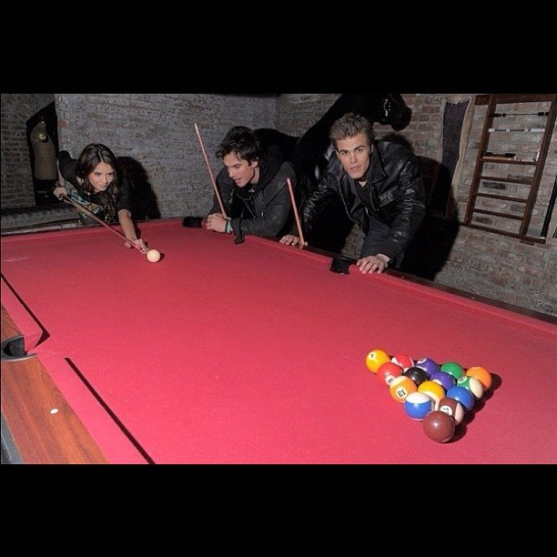 Nina Dobrev, Ian Somerhalder, and Paul Wesley played a round of pool. Source: Instagram user steven_mcqueen