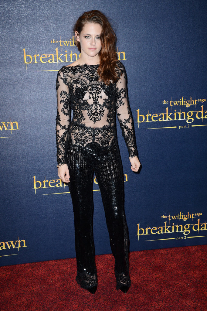 From head to toe, Kristen Stewart's Zuhair Murad Couture look at the Breaking Dawn Part 2 UK premiere is sexy in a darker, gothic romance kind of way.