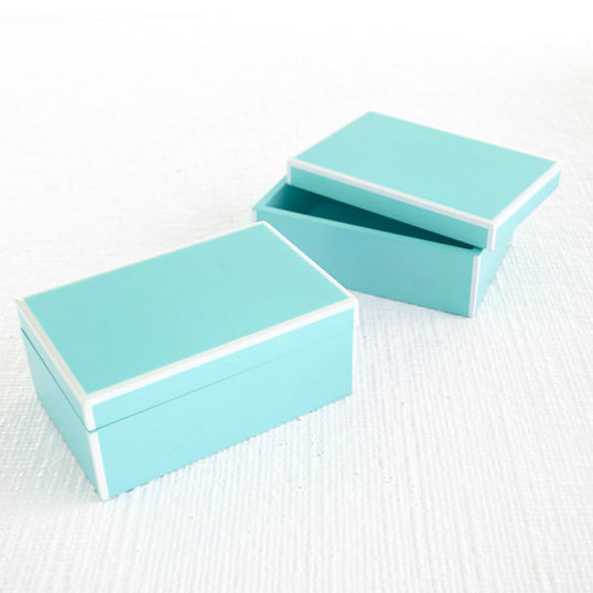 Reminiscent of the iconic Tiffany's box, these teal Wisteria Sleek Lidded Boxes ($19) could store anything from jewelry to bobby pins.