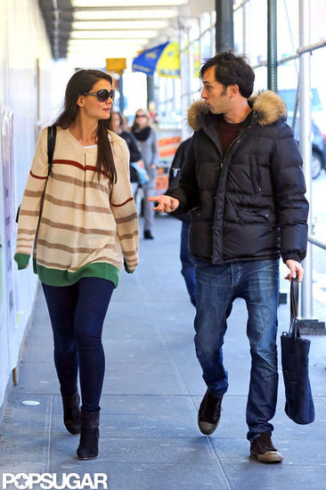 Katie Holmes chatted with a male companion in the subway in NYC.