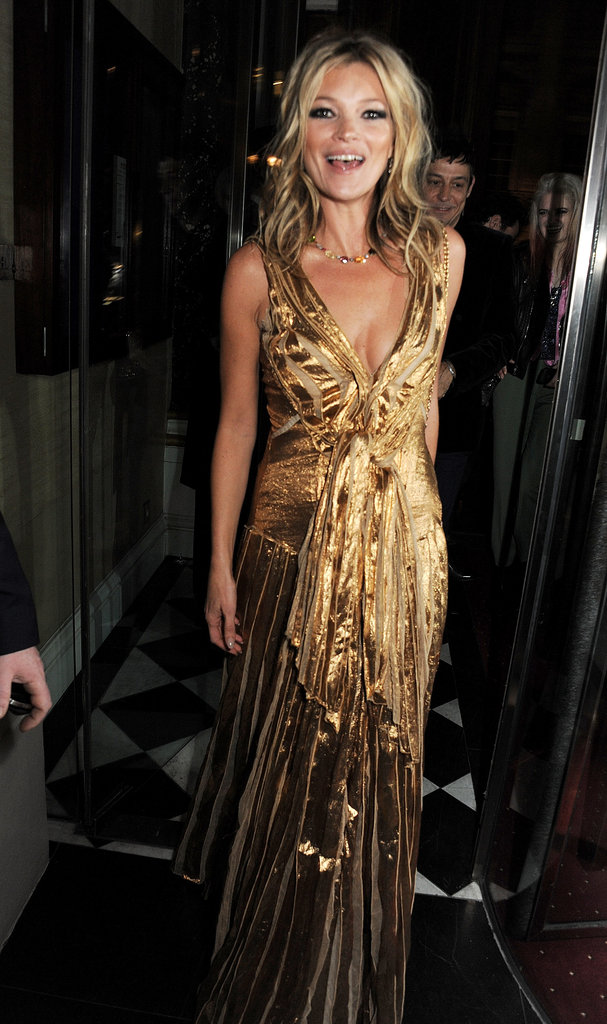Kate Moss wore a gold gown.