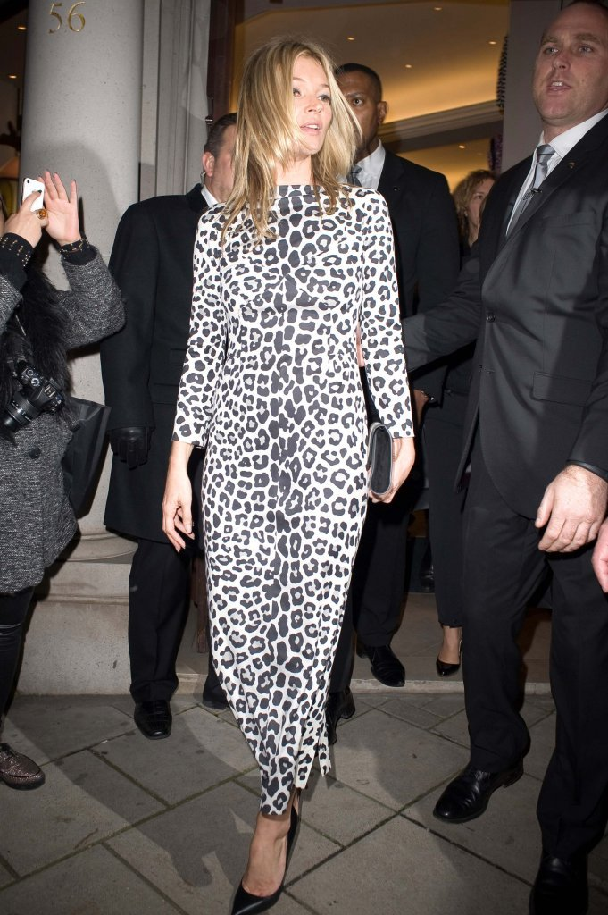 Kate Moss wore a Marc Jacobs leopard-print dress to sign copies of her book.