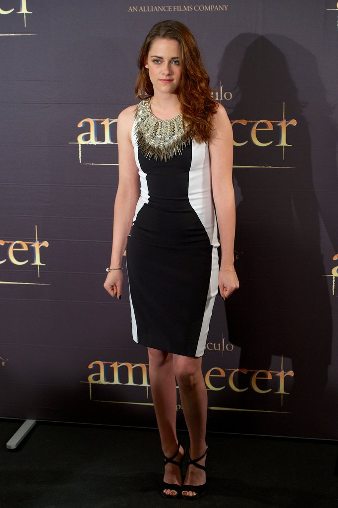 Kristen Stewart wore a black and white dress in Madrid.