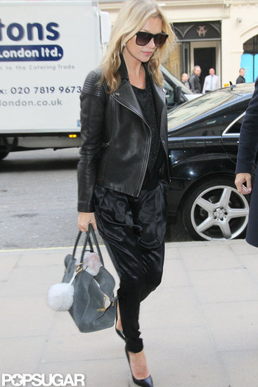 Kate Moss wore all black while walking in London.