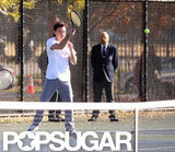 Leonardo DiCaprio took a swing on the tennis court.