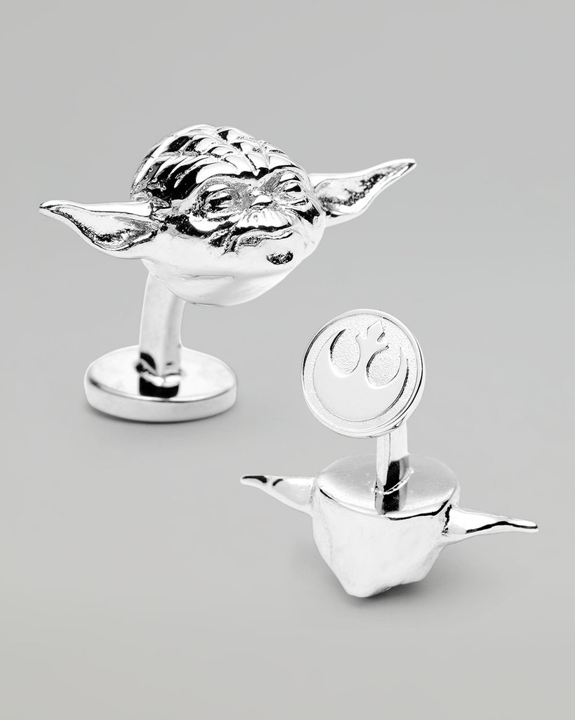 So well-groomed, you are. Channel the look of the Jedi master with Yoda-Sculpted Cuff Links ($125).