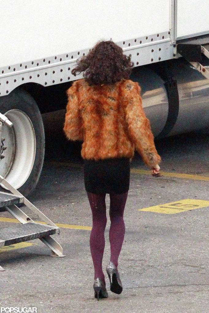 Jared Leto wore a fur jacket and purple tights.