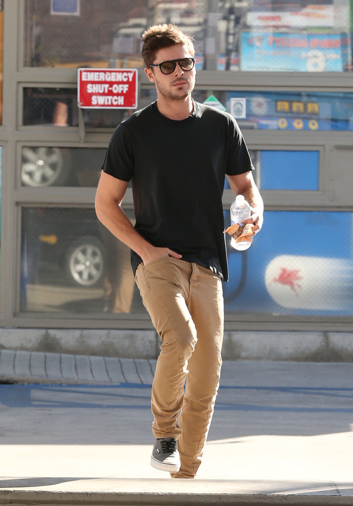 Zac Efron sported sneakers.
