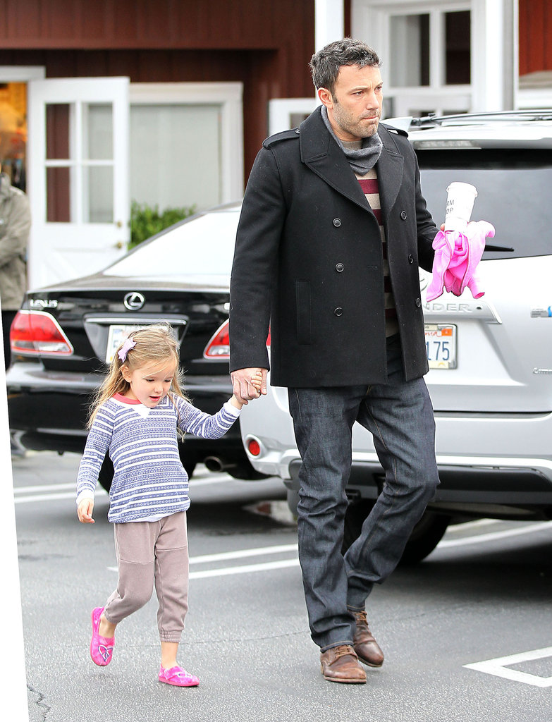 Ben Affleck held Seraphina's hand as they picked up breakfast.